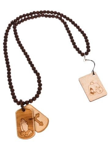 Wood Fellas Praying DT wheat Necklace