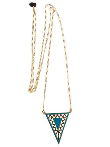 mint Aztec Long Gold Necklace